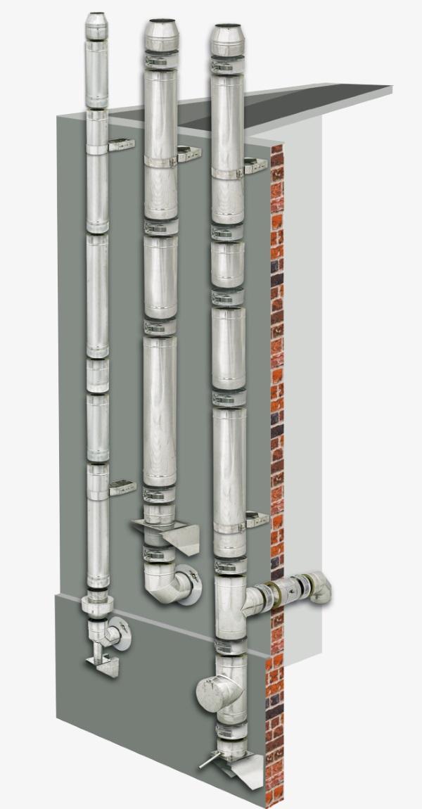 komin izolowany dokotla kondensacyjnego